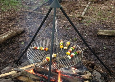 fire cooking - veggie skewers
